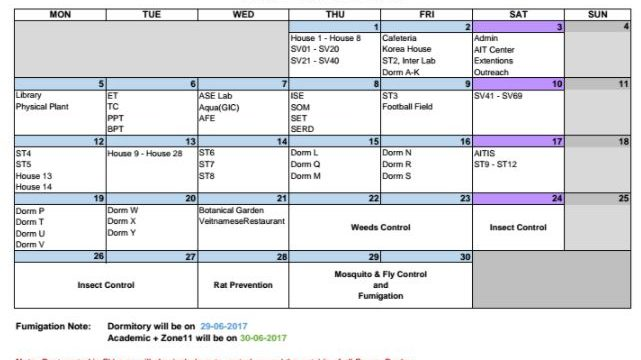 Pest Control Schedule for August 2017